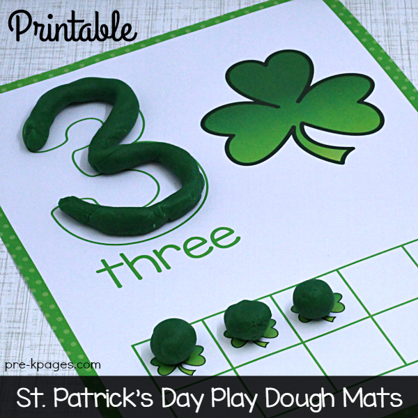 Printable St. Patrick's Day Play Dough Counting Mats