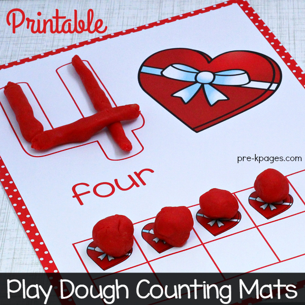 photo about Play Doh Valentine Printable identify Valentine Engage in Dough Counting Mats - Pre-K Web pages