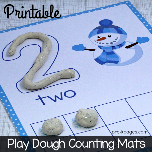 Printable Winter Play Dough Counting Mats for Preschool
