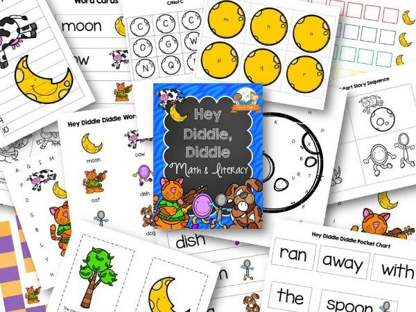 Hey Diddle Diddle Theme Nursery Rhyme Printables for Preschool