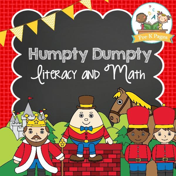 Humpty Dumpty Math and Literacy Activity Printables