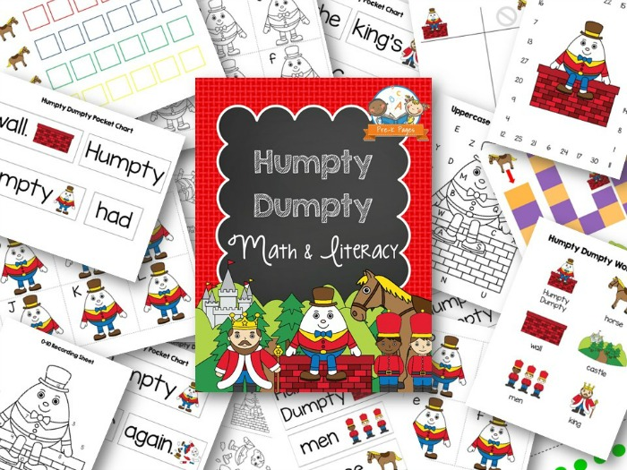 Printable Humpty Dumpty Nursery Rhyme Activities For Preschool Math And Literacy Activity Printables
