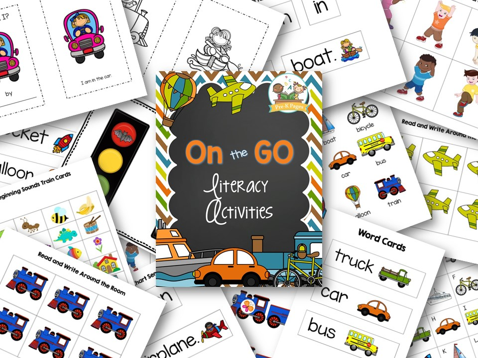 Printable Literacy Activities for a Transportation Theme in Preschool and Kindergarten