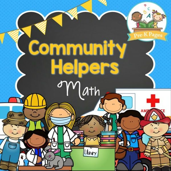 Printable Community Helper Math Activities for Preschool and Kindergarten Kids