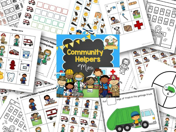Printable Community Helper Math Activities for PreK