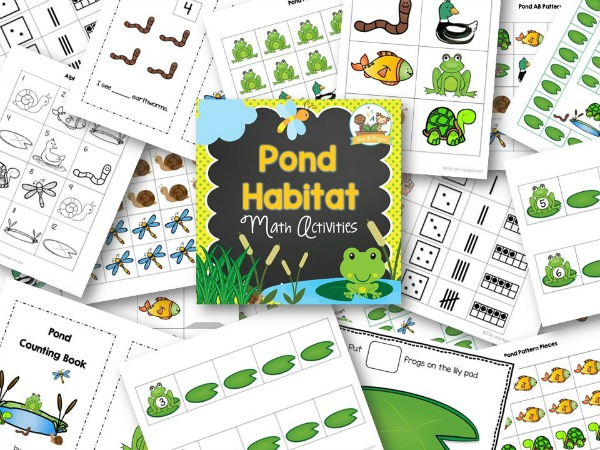 Printable Pond Theme Math Activities for Preschool and Kindergarten Kids
