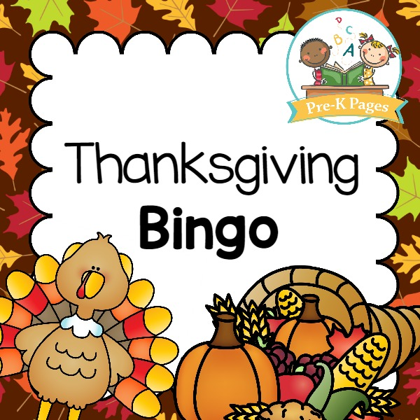 A fun printable bingo game for a Thanksgiving party or theme in your preschool or kindergarten classroom