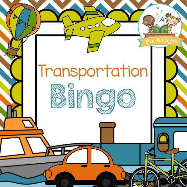 Printable Transportation Bingo Game to Play with Preschool and Kindergarten Kids