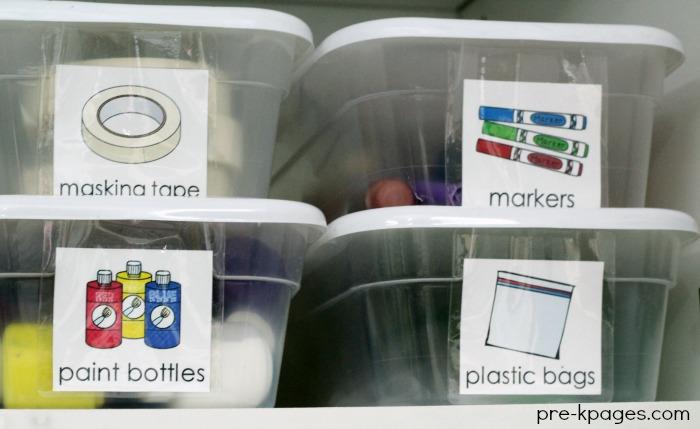Organized Cabinets in Preschool Classroom