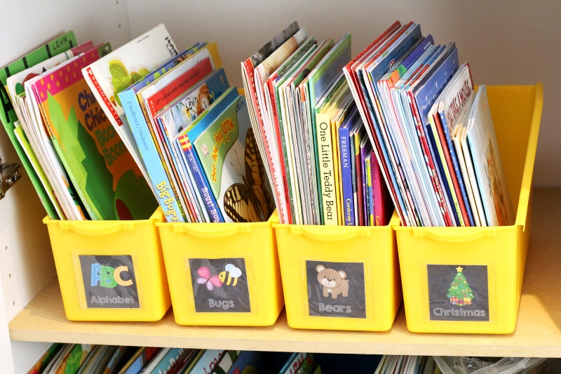 Printable Book Bin Labels for Preschool or Kindergarten Teacher Book Tubs