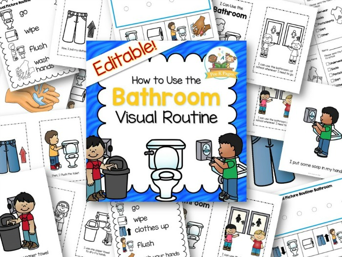 Printable Bathroom Visual Routine to help your preschool become independent in the bathroom