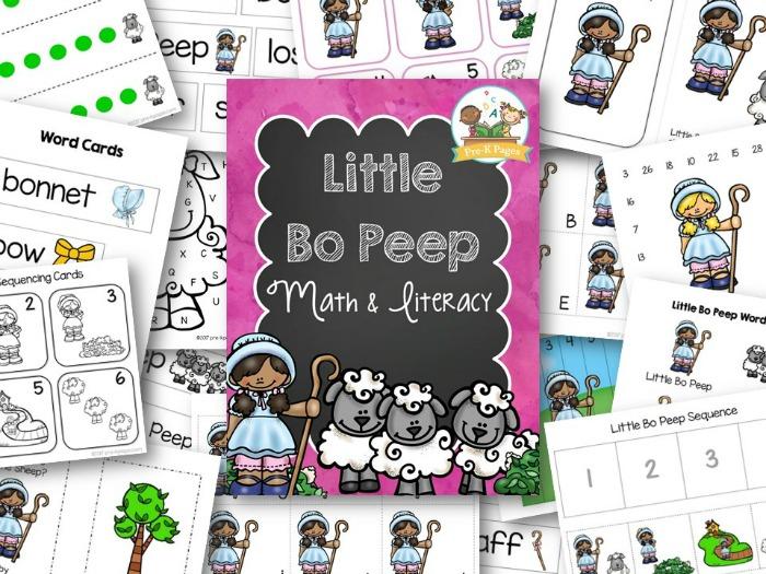 Printable Math and Literacy Activities for the Nursery Rhyme Little Bo Peep