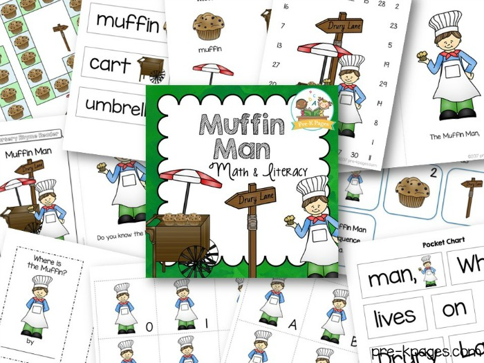 Muffin Man Nursery Rhyme Printables for Preschool
