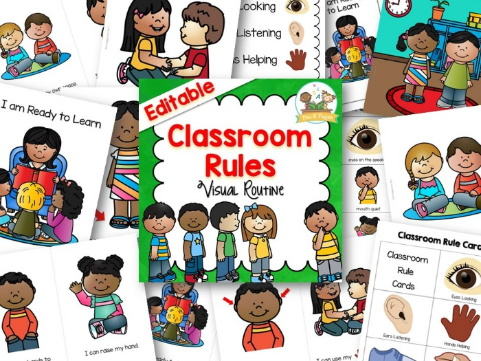 Preschool and Kindergarten Classroom Rules Printable books cards and posters