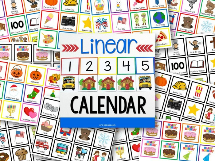Linear Calendar Preview - Pre-K Pages