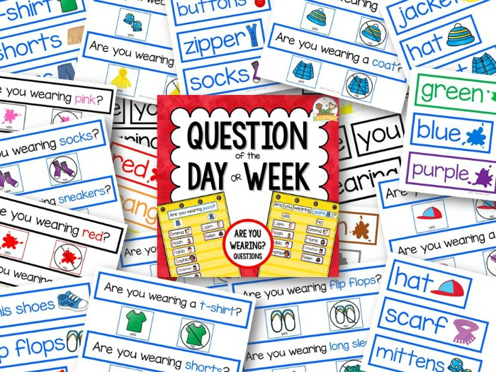 Question of the Day Printables for Preschool