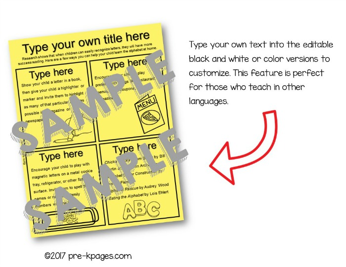 Printable Parent Handouts for Kindergarten and Preschool Classrooms