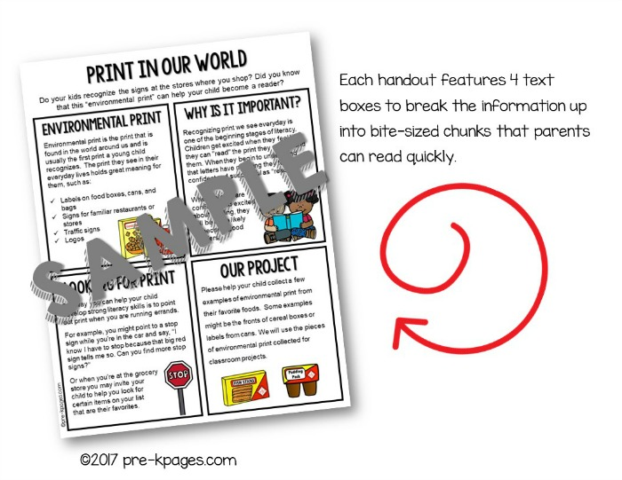 Printable Parent Handouts for Preschool