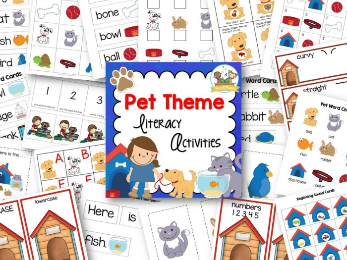 printable pet theme literacy activities for preschool and kindergarten