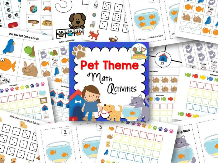 printable pet theme math activities for preschool and kindergarten