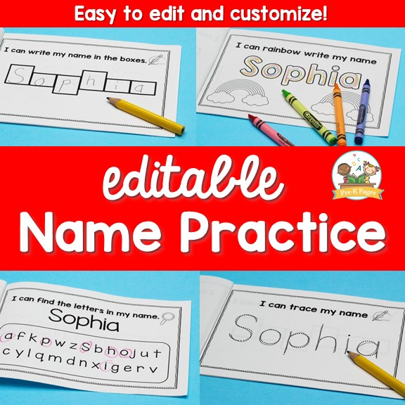 Editable Name Writing Practice Books Cover