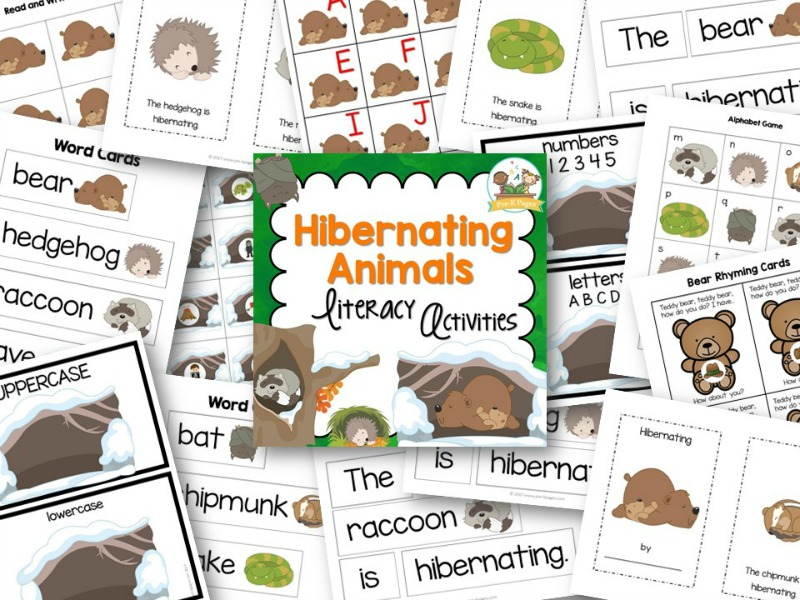 Hibernation Theme Literacy Activities for Preschool and Kindergarten