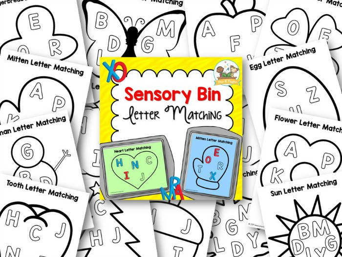 Printable Sensory Bin Letter Matching Activity for Preschool