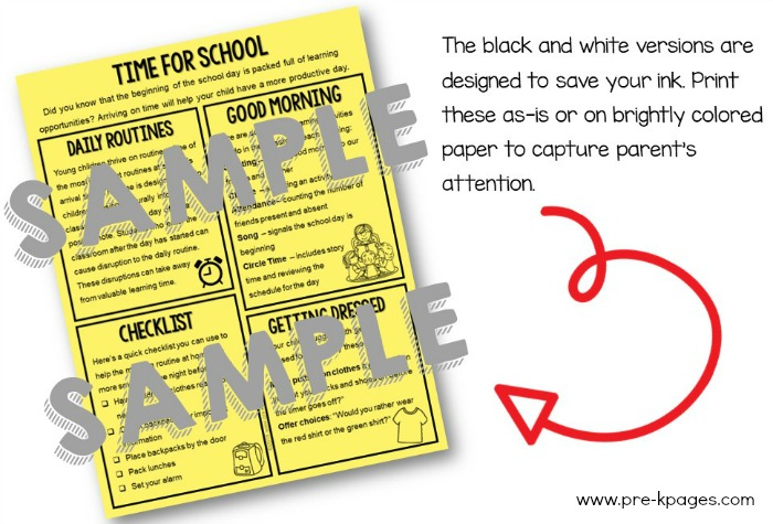 Parent Handouts Volume 2 Editable Black and White