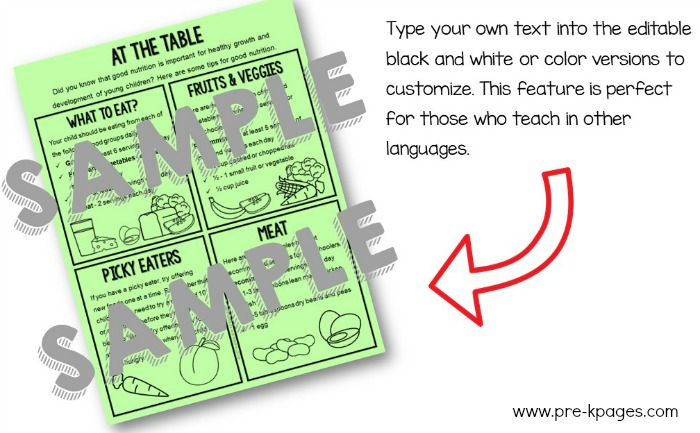 Printable Parent Handouts Type Your Own Text Edit