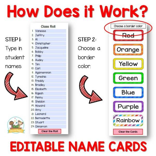 Editable Name Cards for Preschool and Kindergarten