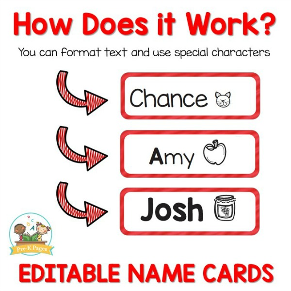 Editable Name Cards with Picture Cues for First Letter