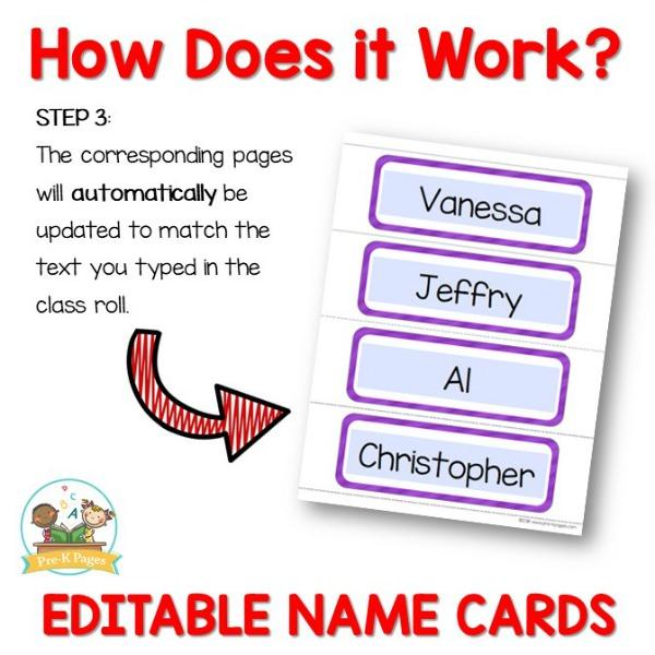 Printable Name Cards Editable