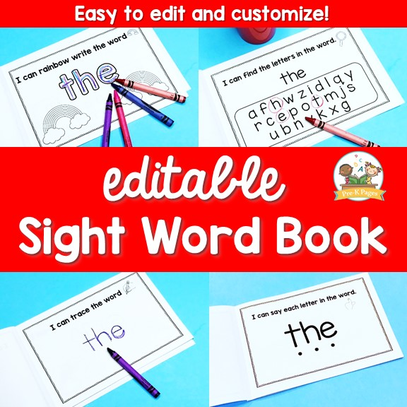 picture relating to Sight Word Printable Books referred to as Editable Sight Phrase Publications Preview - Pre-K Web pages