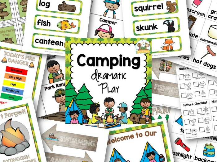 Pretend Play Camping Printable Props for Preschool