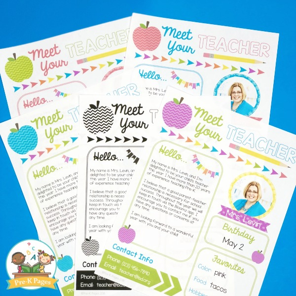 Editable Meet the Teacher Note for Preschool Pre-K Kindergarten