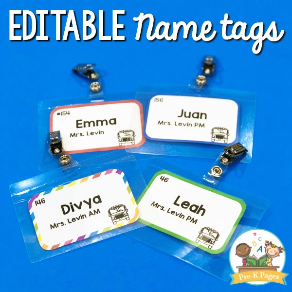 Editable Name Tags for First Day of School