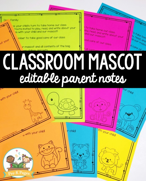 Preschool Classroom Mascot Printable Notes