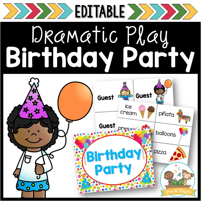 Birthday Party Dramatic Play Center for Preschool