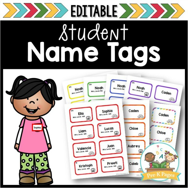 Editable Name Tags for Preschool