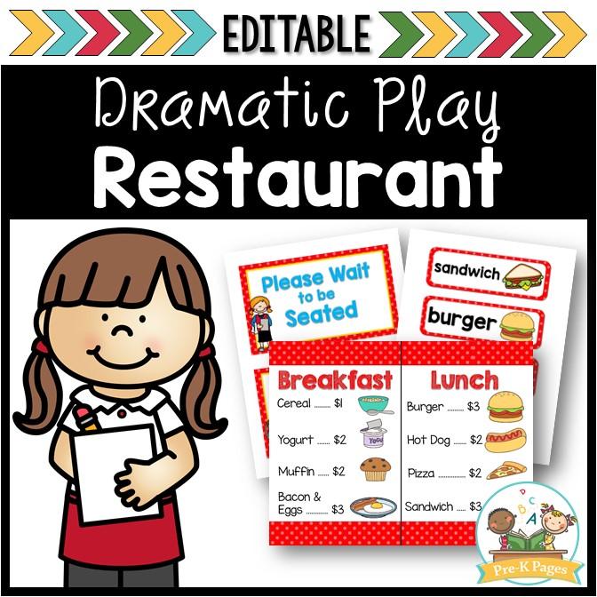Restaurant Dramatic Play Center for Preschool