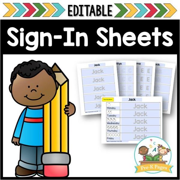 Preschool Sign In Sheets
