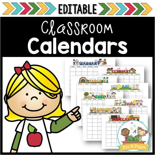Editable Classroom Calendars