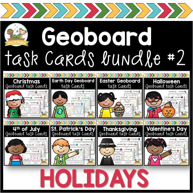Holiday Geoboard Task Cards Bundle