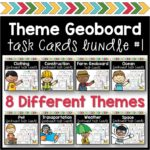 Geoboard Task Card Theme Bundle
