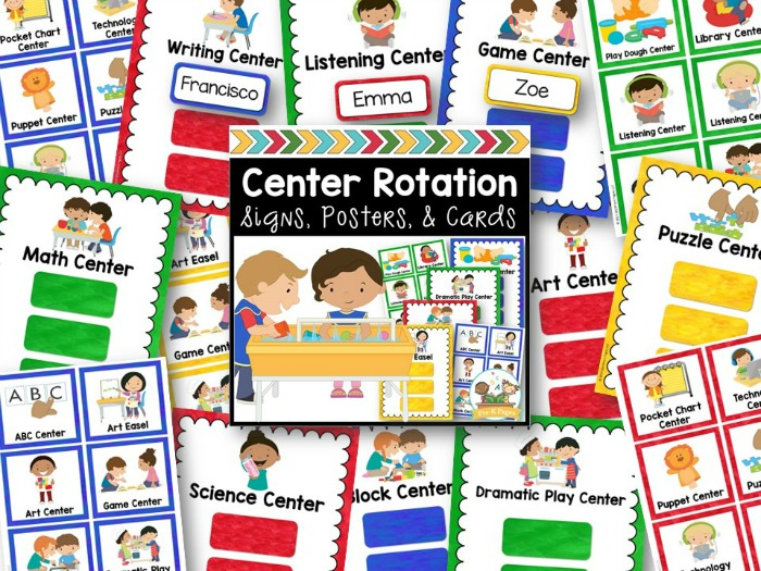 Center Rotation Signs for Pre-K