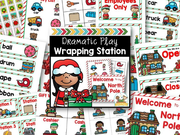Holiday Wrapping Station Dramatic Play