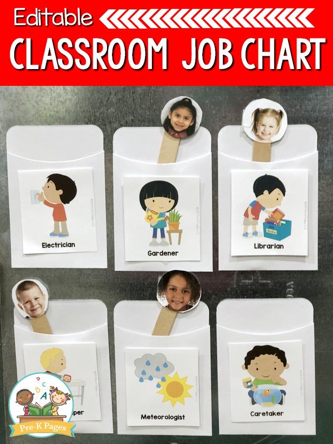 Classroom Job Chart for Preschool