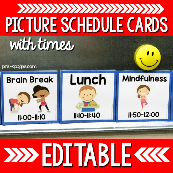 Square Picture Schedule Cards