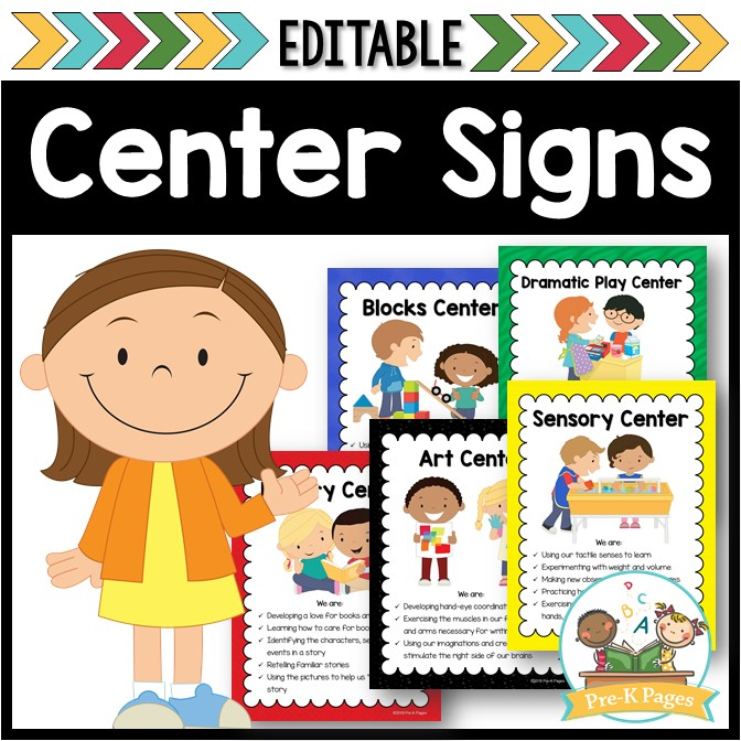 Editable Center Signs for Preschool and Kindergarten