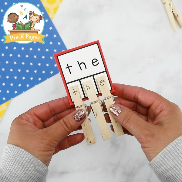Sight Word Clothespin Activity